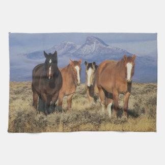 USA, Wyoming, near Cody Group of horses, Heart Tea Towel