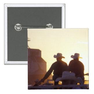 USA, Wyoming, Pine Bluffs. Two men shake 15 Cm Square Badge