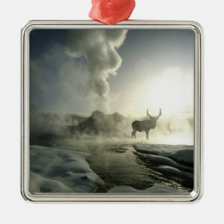 USA, Wyoming, Yellowstone National Park. Sunrise Silver-Colored Square Decoration