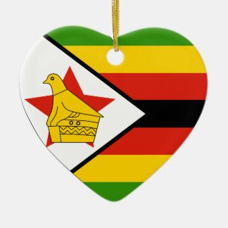 USA & Zimbabwe Flag Heart Ornament