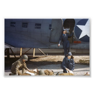 USAAF Flight Nurses and Medic Caring for Wounded Photo