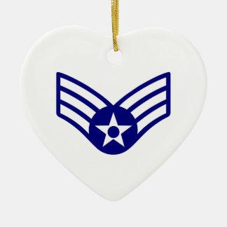 USAF E-4 SENIOR AIRMAN CERAMIC HEART DECORATION