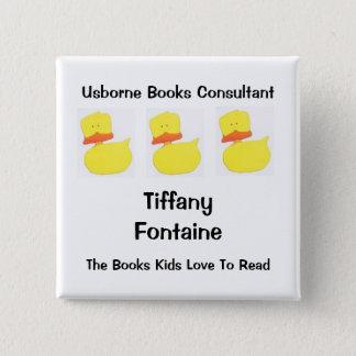 usborne books duck name tag 2 15 cm square badge