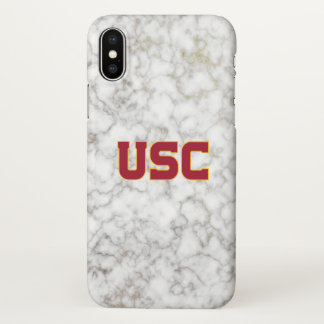 USC Trojans | White Marble iPhone X Case