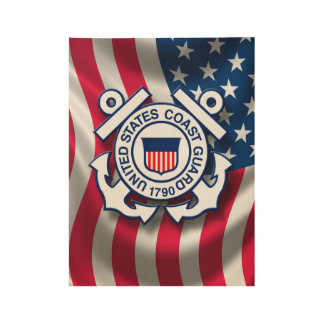 USCG Anchor and Flag Wood Poster Wall Display