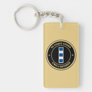 USCG CWO-4 Retired Collar Device Shield Double-Sided Rectangular Acrylic Key Ring