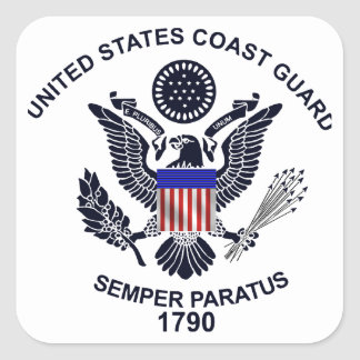 USCG Flag Emblem Square Sticker