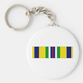 USCG Recruiting Service Ribbon Basic Round Button Key Ring