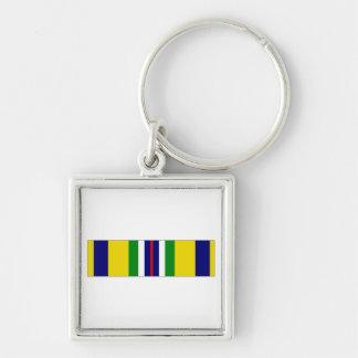 USCG Recruiting Service Ribbon Silver-Colored Square Key Ring