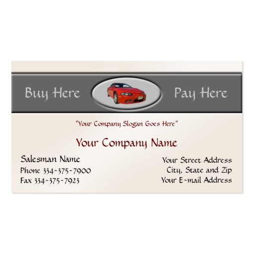 Used car dealer business card zazzle for Auto sales business cards