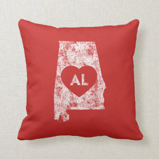 Used I Love Alabama State Throw Pillow