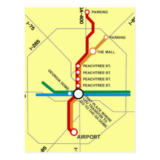 Useful Atlanta Subway Map Postcard