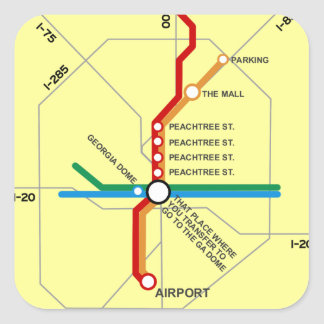 Useful Atlanta Subway Map Square Sticker