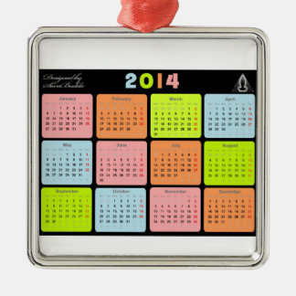 Useful gift with calendar for 2014 Silver-Colored square decoration