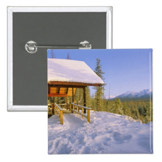 USFS Schnauss Cabin rental in Winter ovelooking 15 Cm Square Badge