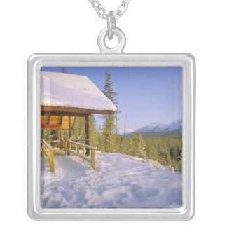 USFS Schnauss Cabin rental in Winter ovelooking Silver Plated Necklace