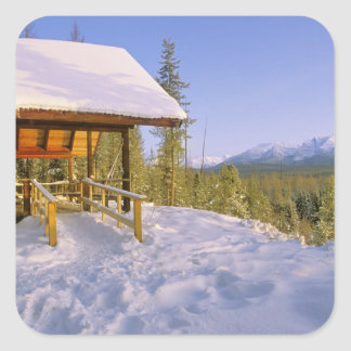 USFS Schnauss Cabin rental in Winter ovelooking Square Sticker