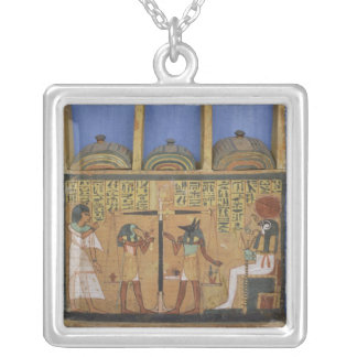 Ushabti casket with a scene of psychostasis silver plated necklace