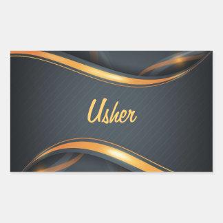 Usher (bl/gd) rectangular sticker