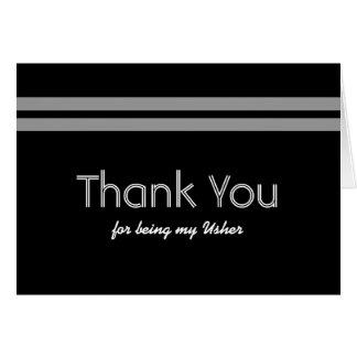 USHER Bold Stripe Wedding THANK YOU Card