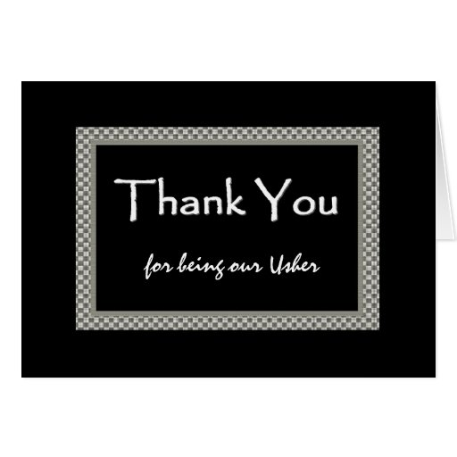 USHER Checkerboard Wedding THANK YOU Cards
