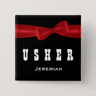 USHER Wedding Custom Name V02R RED 15 Cm Square Badge