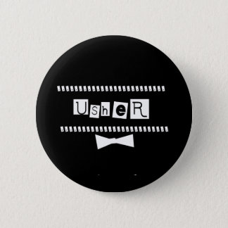 Usher White on Black 6 Cm Round Badge