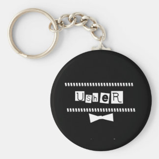 Usher White on Black Basic Round Button Key Ring