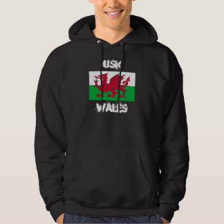Usk, Wales with Welsh flag Hooded Pullovers