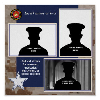 USMC Camo and Blue Photo Collage Poster
