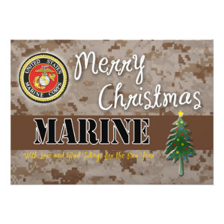 USMC Christmas Card Camo 13 Cm X 18 Cm Invitation Card