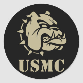 USMC Dog Classic Round Sticker