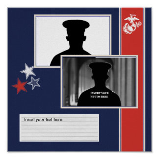 USMC Dress Blues Photo Collage Poster