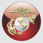 USMC Eagle, Globe & Anchor (EGA) [3D] Classic Round Sticker