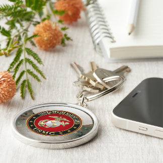 USMC EGA [Special Edition] [3D] Silver-Colored Round Key Ring