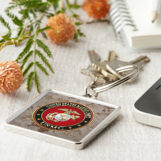 USMC EGA [Special Edition] [3D] Silver-Colored Square Key Ring