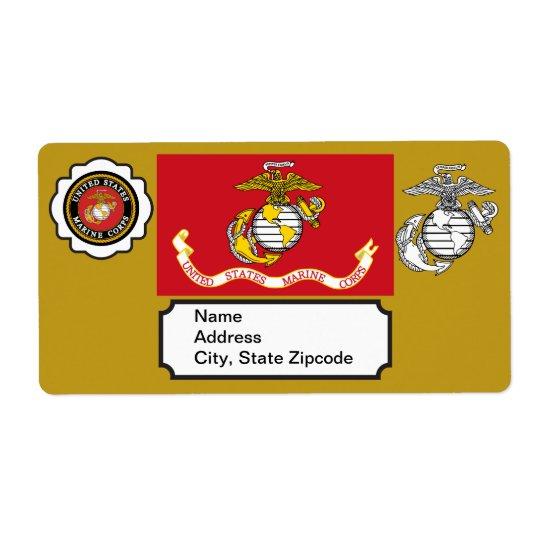 USMC Emblem, Seal and Flag Shipping Label