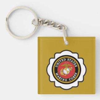 USMC Emblem Single-Sided Square Acrylic Key Ring