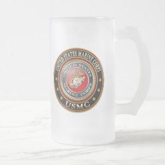 USMC Emblem [Special Edition] [3D] Frosted Glass Beer Mug
