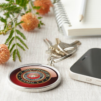 USMC Emblem [Special Edition] [3D] Silver-Colored Round Key Ring