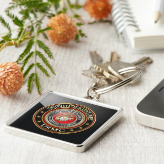USMC Emblem [Special Edition] [3D] Silver-Colored Square Key Ring