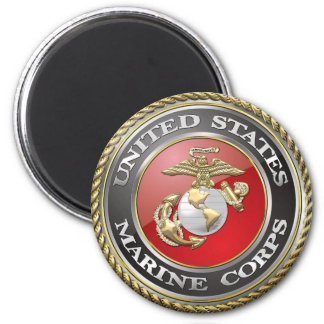 USMC Emblem & Uniform [3D] 6 Cm Round Magnet