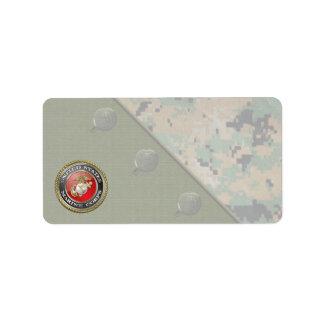 USMC Emblem & Uniform [3D] Address Label