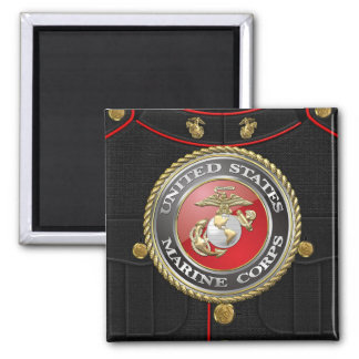 USMC Emblem & Uniform [3D] Square Magnet