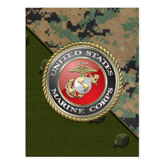 USMC Emblem & Uniform [3D] Postcard