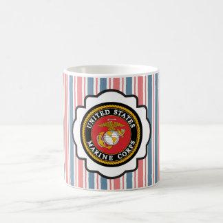 USMC Emblem with Red, White and Blue Stripes Coffee Mug