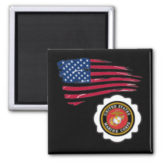 USMC Emblem with the US Flag Refrigerator Magnets
