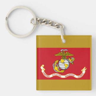USMC Flag Single-Sided Square Acrylic Key Ring