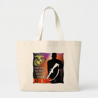 USMC I Hunt The Evil You Pretend Does Not Exist Large Tote Bag