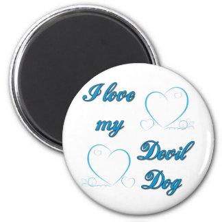 USMC I Love My Devil Dog 6 Cm Round Magnet